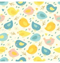 Lovely seamless pattern with cute birds and tree vector image vector image