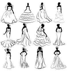 Wedding Bride Gown vector image vector image