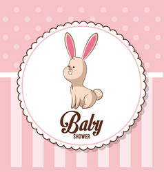 baby shower card invitation - bunny decorative vector image vector image
