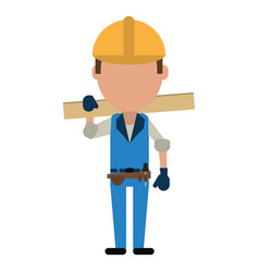 Man construction wooden board and tool belt vector