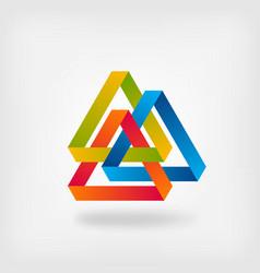 three color interlocked triangles vector image