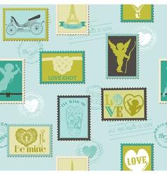 Valentine Stamps Love Background vector image vector image