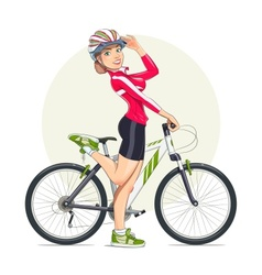 Beautiful girl in helmet with vector image vector image
