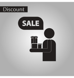 black and white style icon human gifts discounts vector image vector image