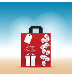 paper bag red with happy new year 2017 and vector image vector image