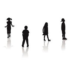 boy girl silhouettes vector image vector image