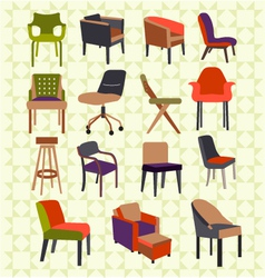Set icons of chairs - vector image vector image