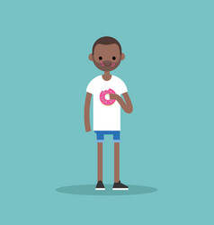 young black man chewing a strawberry donut flat vector image vector image