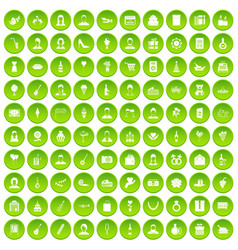 100 birthday icons set green circle vector