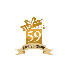 59 years gift box ribbon anniversary vector image