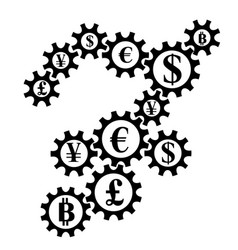 Abstract gearing with currency coins vector