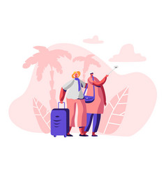 Aged married couple making selfie traveling trip vector