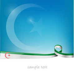 Algeria ribbon flag on blue sky background vector