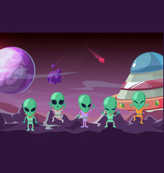 aliens on planet colonization planet spaceship vector image