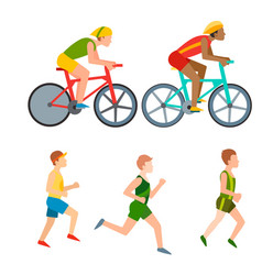 athletic run man people jogging summer vector image