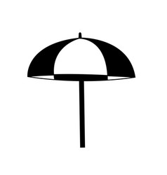 Beach striped umbrella side view icon isolated on vector