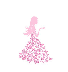 beautiful summer woman with butterfly dress vector image