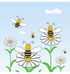 bees on flowers vector image