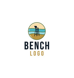 Bench on beach beach guard logo designs vector