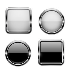 black and white buttons with chrome frame round vector image