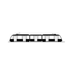 black profile modern city tram logo or vector image