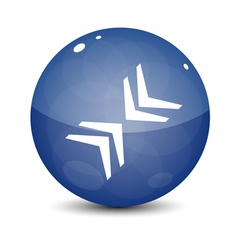 Blue Icon with Arrows vector image vector image