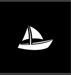 boat icon on black background black flat style vector image