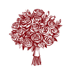 Bouquet of roses greeting card hand drawn vector