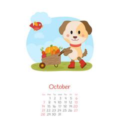 Calendar 2018 months october with dog vector