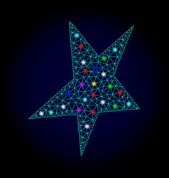 carcass mesh asymmetrical star with glare vector image