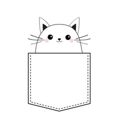 Cat in the pocket doodle linear sketch pink vector