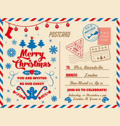 christmas postcard holiday party invitation vector image
