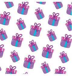 close present box with ribbon bow background vector image