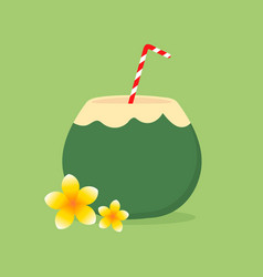 Coconut water with straw and tropical flowers vector