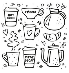 coffee doodle big set coffee to go coffee pots vector image