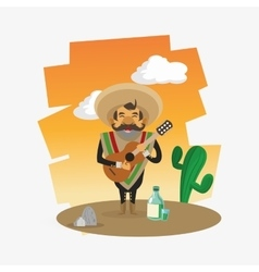 Colorful mexican design over white background vector image
