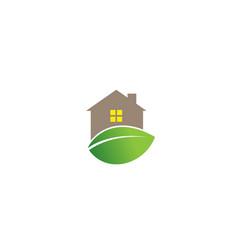 creative house leaf logo design symbol vector image