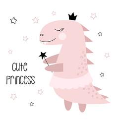 Cute funny dinosaur isolated vector