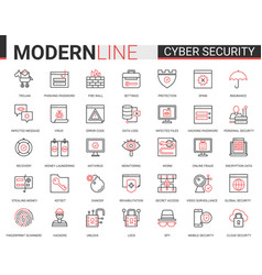 cyber security red black outline line icons set vector image