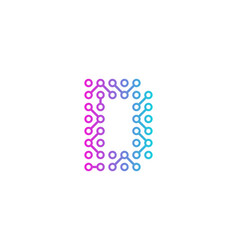 D circuit technology letter and number logo icon vector