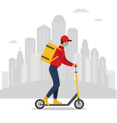 delivery man riding a kick scooter vector image