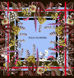 design of scarf with wild flowers vector image
