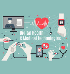 Digital healthcare technology flat poster vector