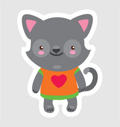 doodle little wolf in cartoon style wearing t vector image