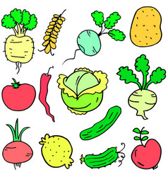 Doodle of vegetable various set design cartoon vector