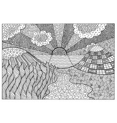 Doodle surreal landscape - coloring page for vector