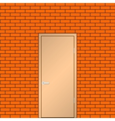 Door on a brick wall vector