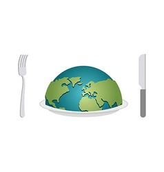 Earth on plate Planet food Cutlery fork and knife vector image