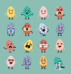 Easter egg character emoji set vector