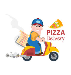 fast delivery pizza on a moped vector image